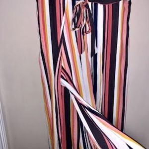 Xhilaration Pants - Striped Crop Linen Pants with Slit Details